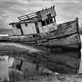 Inveness Shipwreck Black And White by Adam Jewell