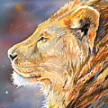 Ipad Painting - Lion Profile by Aaron Spong