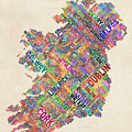 Ireland Eire City Text Map Derry Version by Michael Tompsett
