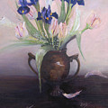 Iris And Tulips by Marcy Silverstein