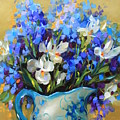 Irises And Blue Glass by Nancy Medina