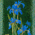 Irises Blue Flowers Lucky Love Frog Friends Fine Art Print Giclee High Quality Exceptional Colors  by Baslee Troutman