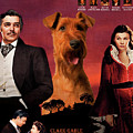 Irish Terrier Art Canvas Print - Gone To The Wind Movie Poster by Sandra Sij