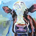 Peek-a-boo Cow Whimsical Cow Oil Painting by Donna Tuten