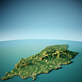 Isle Of Man 3d View South-north Natural Color by Frank Ramspott
