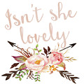 Isn't She Lovely Boho Arrow Watercolor Blush Decor Print by Pink Forest Cafe