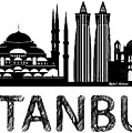 Istanbul Silhouette Sketch In Black And White by Rafael Salazar