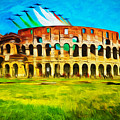 Italian Aerobatics Team Over The Colosseum by Stefano Senise