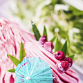 Italian Gelato Raspberry Ice Cream With Blue Umbrella by Jacek Malipan