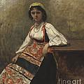Italian Girl by Jean-baptiste-camille Corot
