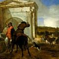 Italian Landscape With Horsemen By A Spring by Jan Baptist Weenix