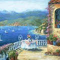 Italian Lunch On The Terrace by Marilyn Dunlap