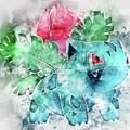 Pokemon Ivysaur Abstract Portrait - By Diana Van by Diana Van