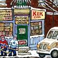 J J Joubert Vintage Milk Truck At Marvin's Grocery Montreal Memories Street Hockey Best Hockey Art by Carole Spandau