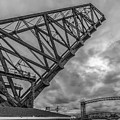 Jackknife Bridge To The Clouds B And W by Lon Dittrick