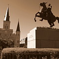 Jackson Square In New Orleans - Sepia by Carol Groenen