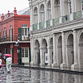 Jackson Square Rainy Day  by Chuck Kuhn