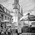 Jackson Square Scene New Orleans - Bw  by Kathleen K Parker