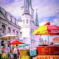 Jackson Square Scene - Painted - Nola by Kathleen K Parker