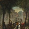 Jacques De Saint Aubin   A Street Show In Paris by PixBreak Art