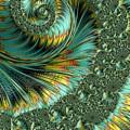 Jade And Yellow Fractal Spiral by Mo Barton