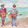 Jamaican Musician Watercolor by Michele Angel