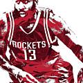 James Harden Houston Rockets Pixel Art 3 by Joe Hamilton
