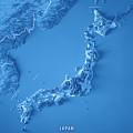 Japan 3d Render Topographic Map Blue Border by Frank Ramspott