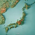 Japan 3d Render Topographic Map Border by Frank Ramspott