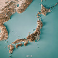 Japan 3d Render Topographic Map Neutral Border by Frank Ramspott