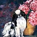 Japanese Chin And Hydrangeas by Kathleen Sepulveda