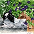 Japanese Chin Puppy And Petunias by Kathleen Sepulveda