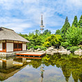 Japanese Garden In Park With Tower by JR Photography