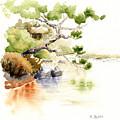 Japanese Garden Pond Sketch by Karla Beatty