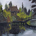 Japanese Garden With Bridge by Samara Doumnande