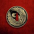 Japanese Katana Tsuba - Golden Crane On Black Steel Over Red Velvet by Serge Averbukh