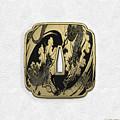 Japanese Katana Tsuba - Golden Twin Dragons On Black Steel Over White Leather by Serge Averbukh