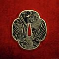 Japanese Katana Tsuba - Golden Twin Koi On Black Steel Over Red Velvet by Serge Averbukh