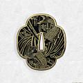 Japanese Katana Tsuba - Golden Twin Koi On Black Steel Over White Leather by Serge Averbukh