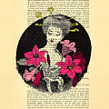 Japanese Lady With Cherry Blossoms by Madame Memento