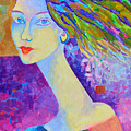 Modigliani Style Portrait Of A Woman Painting Colorful  by Magdalena Walulik