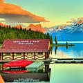Jasper Maligne Lake Sunset Panorama by Adam Jewell