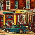 Java U Coffee Shop Montreal Painting By Streetscene Specialist Artist Carole Spandau by Carole Spandau
