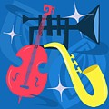 Jazz Composition With Bass, Saxophone And Trumpet by Little Bunny Sunshine