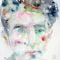Jean Cocteau - Watercolor Portrait.2 by Fabrizio Cassetta