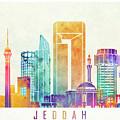 Jeddah Landmarks Watercolor Poster by Pablo Romero
