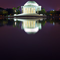 Jefferson Memorial Across The Pond At Night 4 by Val Black Russian Tourchin