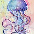 Jelly Fish Watercolor by Olga Shvartsur