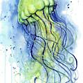 Jellyfish Watercolor by Olga Shvartsur