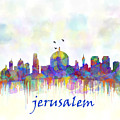 Jerusalem City Skyline Watercolor Print by Mary Alhadif